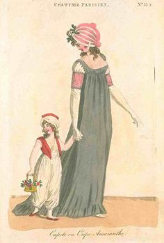 Journal des Dames et des Modes (published in Fashions of London and Paris), 1800.  Bonnet lust.