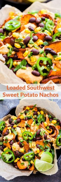 Up your nacho game with these Loaded Southwest Sweet Potato Nachos! Crisp, baked sweet potato rounds piled high with spicy hummus, black bean and corn salsa, cilantro and jalapeños for extra heat. A wholesome, vegan and gluten-free nacho you'll want to dive face first into!