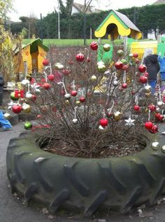 Christmas decorating outdoors! Provide a basket of goodies for the children to decorate a tree/shrub. Natural objects such as fir cones could be painted/embellished by the children to use as their own homemade decorations.