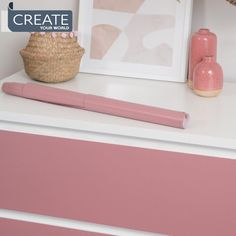"""Create Your World Ltd on Instagram: """"Cover your #malm drawers using your favourite vinyl film, here we've chosen matt ash rose pink 💕 but many more plains or designs to choose…"""" Malm Drawers, Ikea Furniture Hacks, Pink Roses, Ash, Create Yourself, Film, Bedroom, Cover, Instagram"""