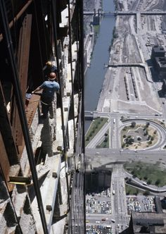 View from the Sears Tower, under construction, 1972, by Paul Slade (Chicago Pin of the Day, 12/29/2015).