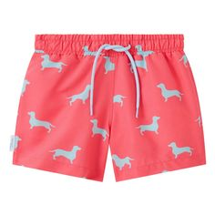 Coral and pale blue Dachshund print kid's drawstring swim shorts. Available in men's sizes too, each collection from Galago Joe is dedicated to one animal, with of all profits being donated to associated charities. Kids Swimwear, Swim Shorts, Dachshund, Coral, Blue, Collection, Fashion, Moda, Dachshunds