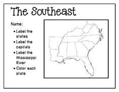 US Southeast Region States Capitals Maps Social Studies - Blank map of states and capitals us