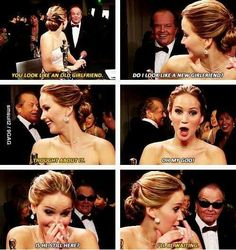 I think I may just be in love with Jennifer Lawrence. This was such a FUNNY moment. so totally inappropriate but SUPER funny! A Jenifer Lawrence And Jack Nicholson Funny Quotes J Law, Jack Nicholson, The Shining, Oscar 2013, Doug Funnie, Shows, Look At You, Looks Cool, Just For Laughs