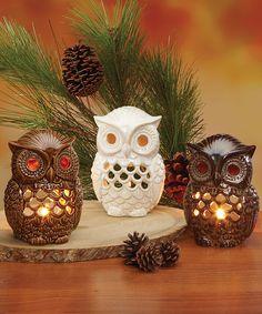 White & Brown Owl Candleholder Set