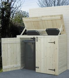 Now You Can Build ANY Shed In A Weekend Even If You've Zero Woodworking Experience! Start building amazing sheds the easier way with a collection of shed plans! Garbage Can Storage, Garbage Shed, Garbage Recycling, Pool Storage, Recycling Bins, Diy Storage, Trash Can Storage Outdoor, Storage Bins, Storage Solutions