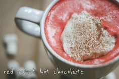 Red velvet Hot Chocolate4 cups whole milk 1 dash water 3/4 cup semi-sweet chocolate chips 1/4 cup sugar 1 tsp. red food coloring 1 cup heavy whipping cream 2 - 4 tbsn. whipped cream cheese, room temperature