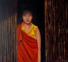 Quadro Pintura by Jorge Marcovich Monja 50x55 Oil Painting Buddhi Budista budismo