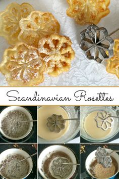Easy recipe for Scandinavian Rosettes. Thin, cookie-like, deep-fried pastry trea… Easy recipe for Scandinavian Rosettes. Thin, cookie-like, deep-fried pastry treats are light and crispy. Perfect on your holiday cookie tray. Rosettes Cookie Recipe, Rosette Recipe, Rosette Cookies, Christmas Treats, Christmas Baking, Christmas Recipes, Fun Easy Recipes, Easy Meals, Homemade Cookbook