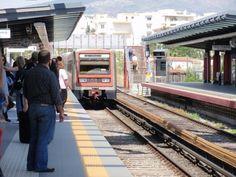 Metro train, Pireaus bound, pulling into Neratziotissa Station.