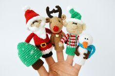 Weihnachten Satz der Finger-Puppen, häkeln Fingerpuppen, Geschenk Weihnachten, Weihnachtsbaum, Weihnachtsmann gehäkelt, Schneemann, Reideer, Elf