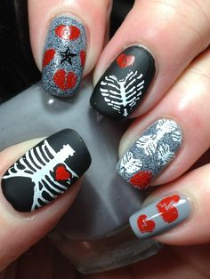 This is my Anti Valentine's mani for the FB group Nail Crazies Unite...it's broken hearts and nothing is more Anti Valentine than a broken ...