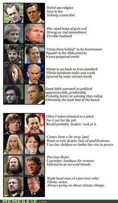 Politicians as Game of Thrones characters