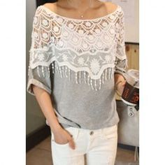 Stylish Bateau Neck Lace Splicing Floral Hollow Out Short Sleeve Cotton Blend Women's Shirt (AS THE PICTURE,ONE SIZE) | Vintage T-shirts