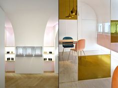 For Nuun's first showroom, the company's art director and founder Nourah Al Faisal called on Brunoir to deliver a space that embraces the jewellery brand's Middle East-meets-French identity. Together with Java Architecture, Brunoir developed the concept of a jewellery box, exemplified by a double-skin partition that runs along the main wall.