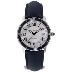 CARTIER Ronde Croisiere Watch Stainless steel Ronde Croisiere de Cartier automatic watch featuring a white Roman date dial with a black numbered bezel. The watch case is and is attached to a black leather strap Watch Case, Automatic Watch, Precious Metals, Cartier Watches, Black Leather, Jewels, Roman, Stainless Steel, Accessories