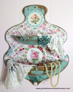 Shabby Prim Turquoise Wall Shelf Pink Rose China