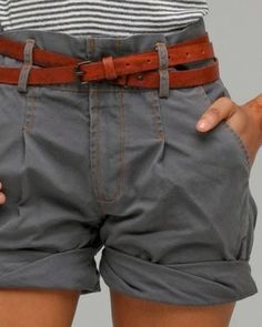 High-Waist Shorts With Double Wrap Belt