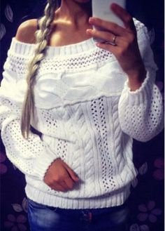 Long Sleeve White Skew Neck Sweater