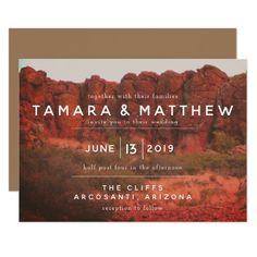 Orange Desert Rocks Invitations Sunflower Wedding Invitations, Photo Wedding Invitations, Rustic Invitations, Sedona Wedding, Arizona Wedding, Sunset Wedding, Text Over Photo, Bear Wedding, Orange Wedding