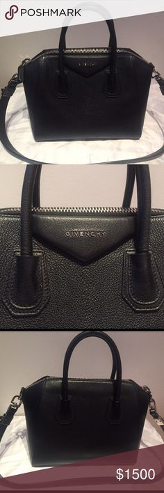 "GIVENCHY SMALL GRAIN LEATHER ANTIGONA BAG! Perfect birthday gift or for the upcoming holiday season at a steal! 100% AUTHENTIC  Originally paid $2,280 + tax for this in May 2016 from Saks Fifth Avenue!!  Gently used, comes with brand new dust bag.   Please see all details below: Double top handles, 4"" drop Shoulder strap, 9"" drop Top zip closure One inside zip pocket Two inside open pockets Canvas lining 10.5""W X 9""H X 6.5""D Leather Made in Italy  THIS BAG IS FINAL SALE, NO RETURNS/REFUNDS…"
