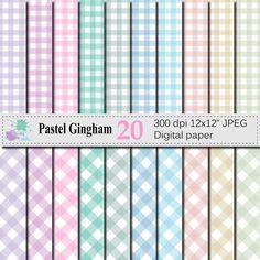 Pastel Gingham Digital Paper Set Pastel Gingham by VRDigitalDesign