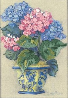 """Gold Petite Hydrangea In Bloom Counted Cross Stitch Kit-5/""""X7/"""" 18 Count"""