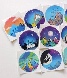 Vinyl adventure stickers pack of 10 colorful outdoor designs Vinyl Paper, Vinyl Art, Wood Painting Art, Painting & Drawing, Space Phone Wallpaper, Cd Artwork, Record Art, Outdoor Stickers, Middle School Art