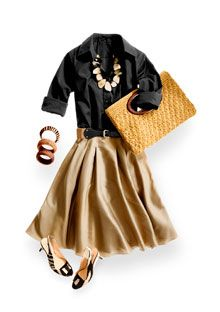 Cute belted khaki skirt and black shirt