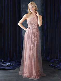 Alfred Angelo Style 8117L: floor length one-shoulder sequin bridesmaid dress, available in silver, gold, black, navy, rose gold and bronze