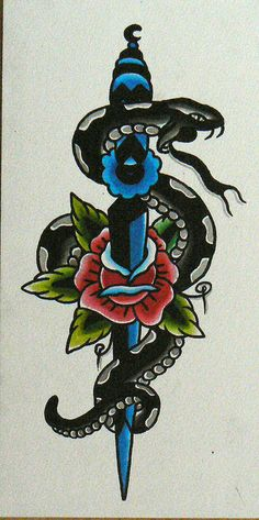 30 New Ideas Tattoo Traditional Dagger Snakes Traditional Dagger Tattoo, Traditional Tattoo Design, Traditional Tattoo Flash, Arrow Tattoos, Feather Tattoos, Blue Ink Tattoos, Tatoos, Ship Tattoos, Gun Tattoos