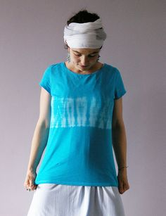 Turquoise Blue White Tshirt Size XL Hand Dyed by BannerDesignShop, $44.99