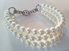 Triple Strand Chunky Pearl Dog Collar by BeadieBabiez