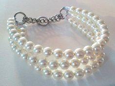 Triple Strand Chunky Pearl Dog Collar by BeadieBabiez