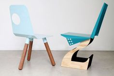 The Full Moon and Hybrid chairs by Justin Lamont