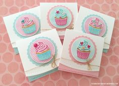 Birthday Cupcakes handmade cards. Used #SSSFAVE Cupcake Party stamp set; #SSSFAVE coordinating inks and cardstock.