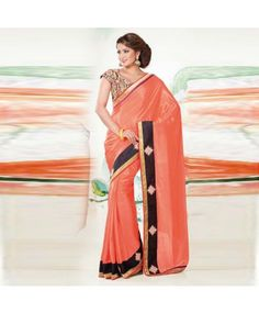 Designer Orange& Black Chiffon & Satin Saree #saree #ethnicwear #indian #ohnineone