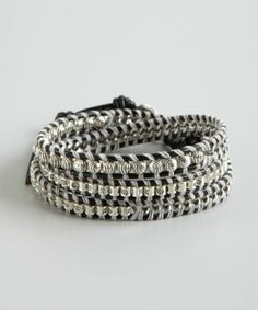 style #322504701 black and silver leather mixed chain and bead wrap bracelet