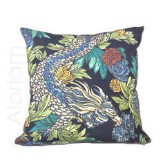 "Robert Allen Chinoiserie Ming Dragon Admiral Blue Cotton Print Decorative Throw Pillow Cover Home Decor Cushion, Invisible Zipper, 18"" 20"" +"