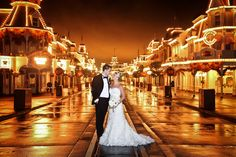 Main Street, U.S.A. is the perfect location for a Bridal Portrait Session #MagicKingdom #wedding