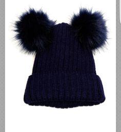 Double Fur Pom Pom Beanie Hat c906c7f36b88