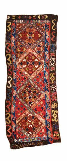 Uzbek felt carpet 10ft. 10in. x 4ft. (330 x 123 cm) Uzbekistan circa 1920