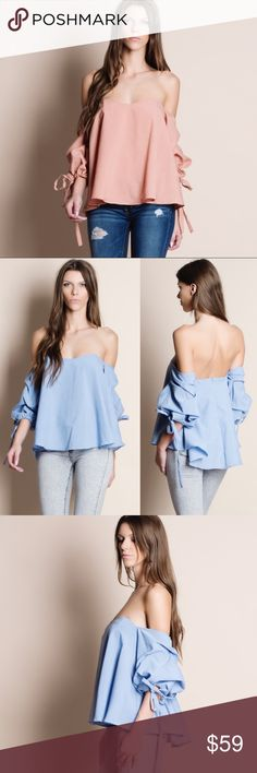 """Off Shoulder Puff Sleeve Top Off shoulder puff sleeve top. Available in black, denim blue and dusty pink. This listing is for the DUSTY PINK. Runs large, no stretch. This is an ACTUAL PIC of the item - all photography done personally by me. Model is 5'10"""", 33""""-24""""-36"""" 32C wearing the size small. NO TRADES DO NOT BOTHER ASKING. PRICE FIRM. Bare Anthology Tops Blouses"""