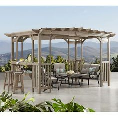 The pergola kits are the easiest and quickest way to build a garden pergola. There are lots of do it yourself pergola kits available to you so that anyone could easily put them together to construct a new structure at their backyard. Cedar Pergola, Pergola Canopy, Deck With Pergola, Wooden Pergola, Covered Pergola, Backyard Pergola, Pergola Shade, Pergola Plans, Pergola Ideas