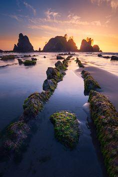 Sunset at Shi Shi Beach by Yanbing Shi on 500px