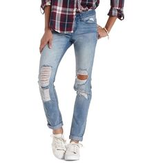 Charlotte Russe Lt Wash Denim Light Wash Destroyed Boyfriend Jeans by... (1,230 THB) ❤ liked on Polyvore
