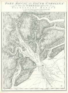 Vintage infographic / visualization, Port Royal in South Carolina (1777) | J.F.W. Des Barres