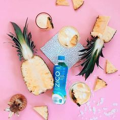 My summer drink right now, a cleaner take on the piña colada 🍍 blend 1/2 cup frozen pineapple, 1 cup @zicococonut water, 1 ounce white rum and 1 tablespoon light coconut cream in a blender. The coconut water makes it hydrating and with no added sugar, is the perfect poolside drink 😉 #InsideIsEverything #brandambassador