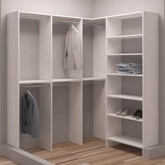 TidySquares White Wood 75 x Walk-in Closet System (White)(Laminate) Closet Rod, Master Closet, Walk In Closet, Small Walkin Closet, Ikea Closet, Room Closet, Small Closet Organization, Closet Storage, Corner Closet Shelves