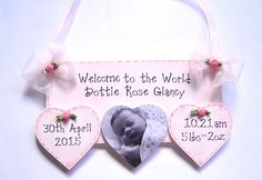 Personalised New Baby Plaque Birth Details Keepsake